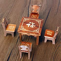 Generic Dollhouse Miniature Furniture Wooden Mini Dining Room Table & 4 Chairs Set Toy
