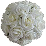 Lily Garden 2 Dozen Rose Bridal Wedding Bouquets Artificial Flower DIY (white)