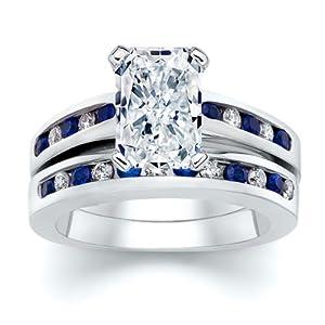 3.50 ct Radiant Diamond W Round Blue Sapphire Ring Set