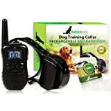 ONE DAY SALE Naturepets Remote Dog Training Collar - Safe and Rechargeable And Rainproof Bark Collar with LCD Screen and 100 Vibration and Shock Levels - two GIFTS include