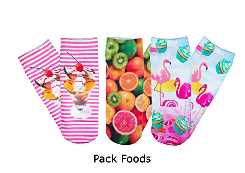 Pack 3 paia calzini FUNNY CHIC calze donna con stampe colorate 3D fantasie divertenti. MWS (Pack Funny Foods)