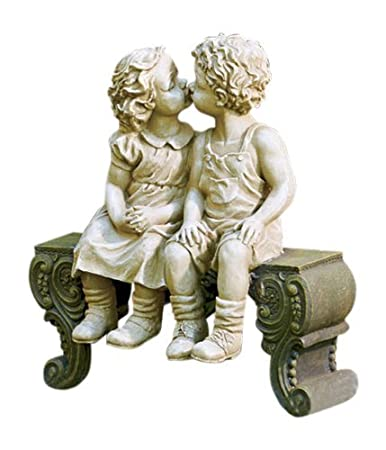 Kissing Boy U0026 Girl On Bench Detailed Garden Ceramic Garden Yard Statue Art  15u2033 X 12 1/2u2033 X 5 3/4u2033