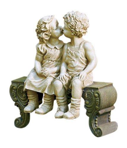 Kissing Boy & Girl on Bench Detailed Garden Ceramic Garden Yard Statue Art 15