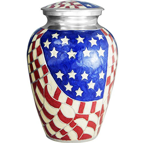 Funeral Urn by Meilinxu - Cremation Urn for Human Ashes Adult and Memorial Urns - Design is Hand Engraved in Brass - Burial Urns At Home or in Niche at Columbarium (American Hero, Large (Air Force Top Coat compare prices)