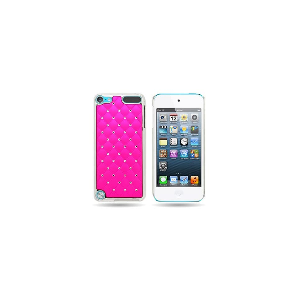 CoverON® HOT PINK Back with Spot DIAMOND and SILVER METAL CHROME Hard TRIM Cover Case For APPLE IPOD TOUCH 5 [WCK347]