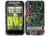 Rainbow Peace Bling Rhinestone Diamond Crystal Hard Protector for HTC Thunderbolt One 1 Mecha 6400