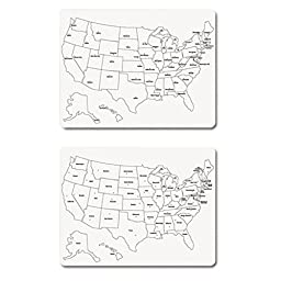 Creativity Street 24 x 18 in. U.S. Map Whiteboards - Set of 3