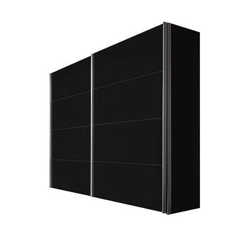 Solutions 47430-708 Schwebeturenschrank 2-turig, Korpus und Front schwarz, Griffleisten alufarben, 68 x 250 x 216 cm