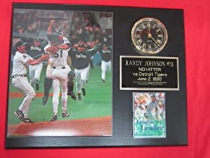 Randy Johnson Seattle Mariners NO HITTER Collectors Clock Plaque w 8x10 Photo and... by J & C Baseball Clubhouse