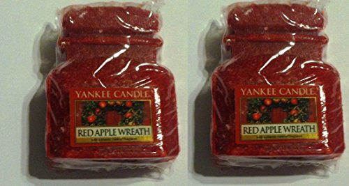 2 Yankee Candle Red Apple Wreath .8 Oz Jar Wax Melts