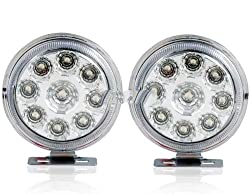 See Universal Round LED Daytime Driving Lamp for Cars (Silver) Details