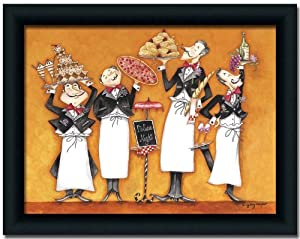 Italian Night Chef Art Print Picture Framed 12x16