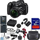 Nikon Coolpix P610 Wi-Fi Digital Camera (Black) + Extra Replacement Battery + Original Nikon Accessories + Extremespeed 32GB Commander Memory + Card Reader + Celltime Starter kit with Cleaning Cloth + Spider Flexible Tripod + Deluxe Carrying Case + 12pc Bundle Kit