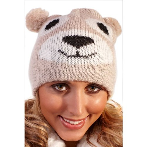 Ladies and Girls One size up to 57cm Animal Beanie Hat by satsumauk