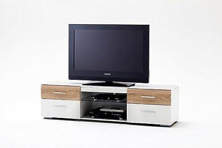 LED TV Board Fernsehtisch Kommode Lowboard Sideboard RGB Weiß Hochglanz