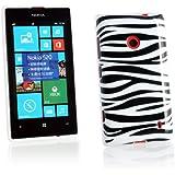 Kit Me Out FR Coque en gel TPU pour Nokia Lumia 520 - noir, blanc zébrures