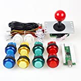 EG Starts Zero Delay USB Encoder To PC Games Red Joystick + 10x LED Illuminated Push Buttons For Arcade Joystick DIY Kits Parts Mame Raspberry Pi 2 3