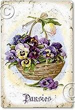 Item 112707 Victorian Pansies in Basket Sign Plaque