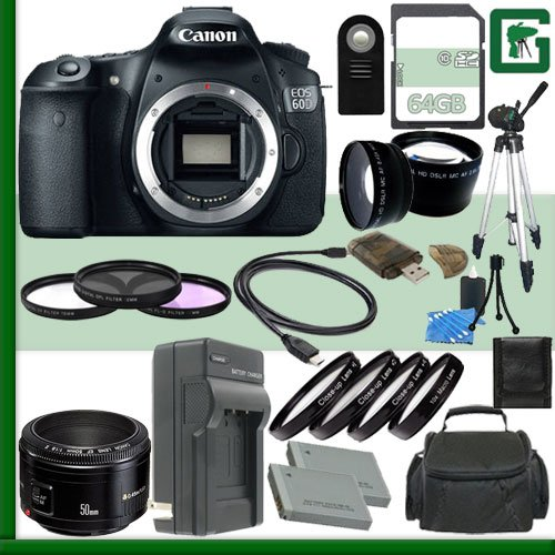 Canon Eos 60D Digital Slr Camera And Canon 50Mm F/1.8 Lens + 64Gb Green'S Camera Package 2