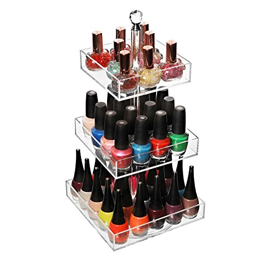 Clear Acrylic Rotating 3 Tier Nail Polish Rack / Cosmetics Organizer / Jewelry Display Stand - MyGift® (Nail Polish Jewelry compare prices)