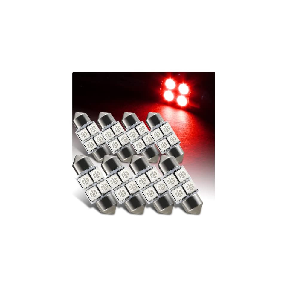 8 x 31mm Festoon Red 4 SMD LED Glove Box / Dome / Map Light Bulb   3021 3022 3175