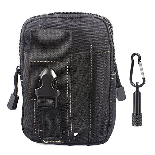 Tactical Pouch - Compact Water-resistant Molle EDC Utility Gadget Gear Tools Organizer - Bundled with Keychain Flashlight£¨Black) (High Waist Griddle compare prices)