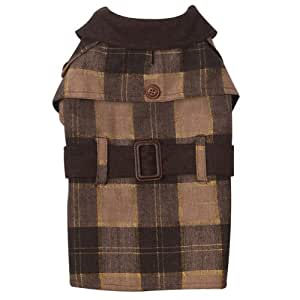 Zack & Zoey Polyester Metallic Plaid Trench Dog Coat, XX-Small, Brown