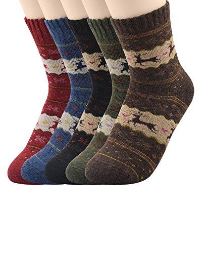 Super Thick Merino Ragg Wool Crew Winter Socks Christmas Deer