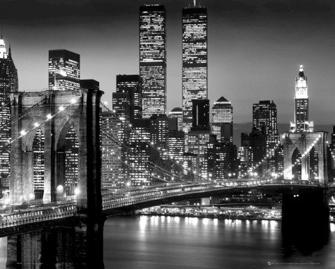 new york skyline black and white. New York - Bridge Black