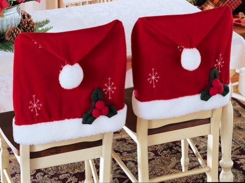 Santa Hat Christmas Chair Covers - Set Of 2 By Collections Etc
