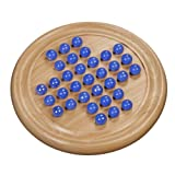 Marble Solitaire - Blue Glass Marbles with Solid Maple Wood Board 8.5 in. (Made in USA)