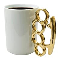 Topone Best Choice 2013 Design Fist Cup Brass Knuckle Duster Handle Coffee Milk Tea Ceramic Fist Mug Cup Cool Gift from Topone