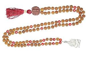 Ganesha Mala Beads Coral Rudraksha Yoga Meditation Japamala Muladhara Chakra