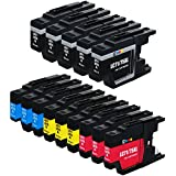 E-Z Ink (TM) Compatible Ink Cartridge Replacement for Brother LC-75 XL High Yield (5 Black, 3 Cyan, 3 Magenta, 3 Yellow) 14 Pack Compatible With MFC-J6510DW MFC-J6710DW MFC-J6910DW MFC-J280W MFC-J425W MFC-J430w MFC-J435W MFC-J5910DW MFC-J625DW MFC-J825DW MFC-J835DW Printer