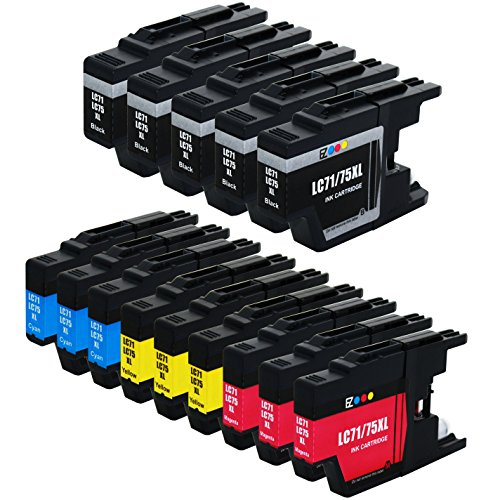 E-Z Ink (TM) Compatible Ink Cartridge Replacement for Brother LC-75 XL High Yield (5 Black, 3 Cyan, 3 Magenta, 3 Yellow) 14 Pack