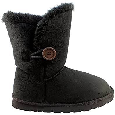 Womens Fur Lined One Button Winter Snow Boots Black Size 5