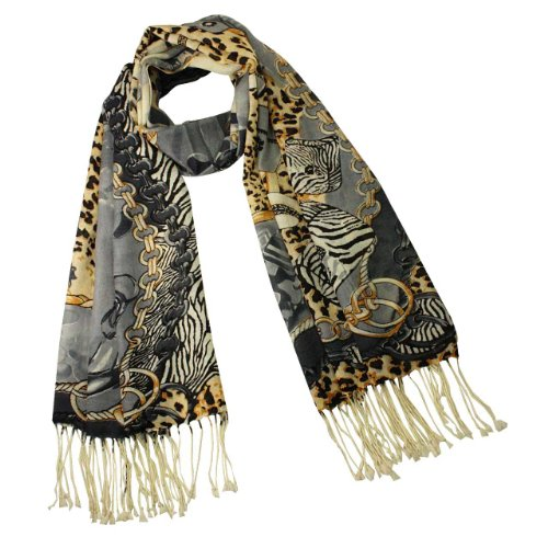 100% Pashmina Cashmere Leopard Print Fashion Accessories Tassels Ends Long Scarf Shawl