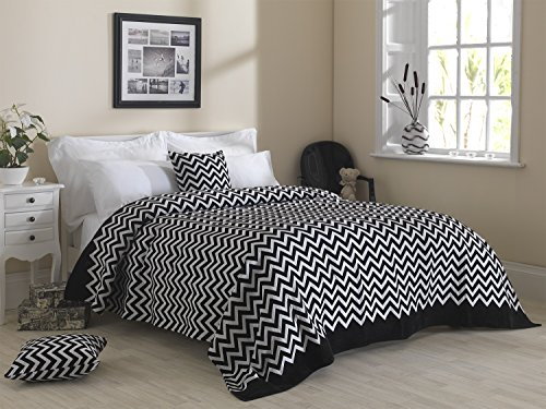 Lusso pesante misto cotone ciniglia moderno zig zag-Zig Zag copriletti, Nero/Bianco, Cushion 45cm x 45cm