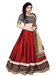 Khazanakart Designer Brown Color Slub Dhupian Fabric Un-stitched Lehenga Choli With Chiffon Dupatta Material.
