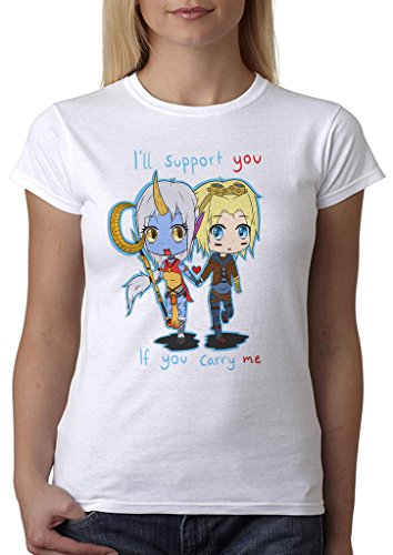 LeagueOfLegends Ill Support You If You Carry Me Soraka Ezreal ADC Support Cute Women' s Shirt Custom Made T-shirt (XL)