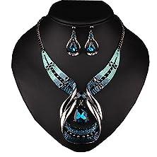buy Girl Era Big Drop Sapphire Retro Elegant Style Necklace Earring Sets Wedding Party