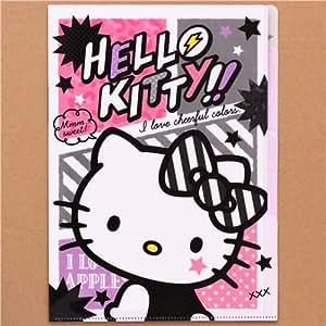 Amazon.com : Hello Kitty punk rock cat star 5-pocket A4 file folder