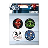 Pin badge pack: STAR WARS EPISODE ONE THE PHANTOM MENACE DARTH MAUL SITH LORD JAR JAR BINKS POD RACE (4 pin badges, 38mm / 1.5in)