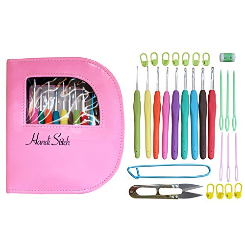 [Crochet hook set with ergonomic crochet hooks for ultimate comfort-crochet for longer with no pain in hand-crochet kit with sturdy case, 9 crochet needles & 30 accessories to stay] (Animal That Starts With J)