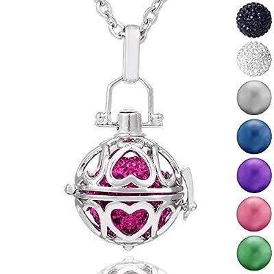 Morella Damen Schutzengel Halskette Edelstahl 70 cm mit Anhänger Liebesherzen und Klangkugel Zirkonia in Schmuckbeutel