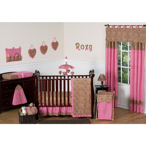 Sweet Jojo Designs Cheetah Pink Collection 4-piece Baby Crib Bedding Set - 1