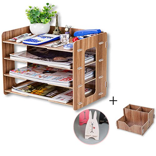Gobuy Office Supplies Wooden DIY Organizer Magazine Document Shelf Free Mobile Phone Pencil Rack (Wooden Document Tray compare prices)