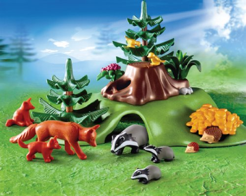 playmobil forest lodge forest animals with cave 2999