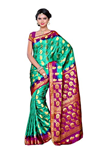 Mimosa Women's Traditional Art Silk Saree Kanjivaram Style With Blouse Color:Rama(3307-104-2D-RAMA )  available at amazon for Rs.1499