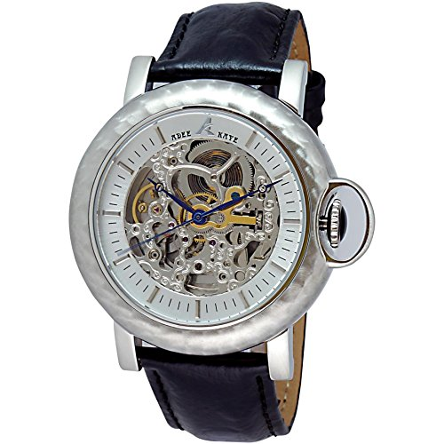 Adee Kaye Pacwa Vintage AK7119-M 53.06x50.61mm Automatic Stainless Steel Case Black Calfskin Mineral Men's Watch
